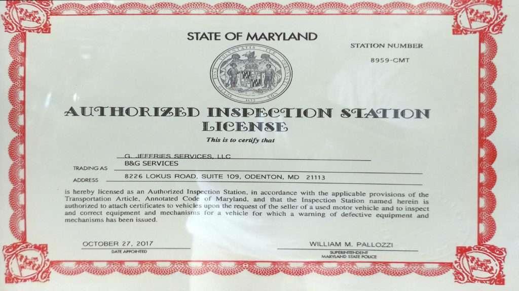 Maryland Authorized Inspection Station